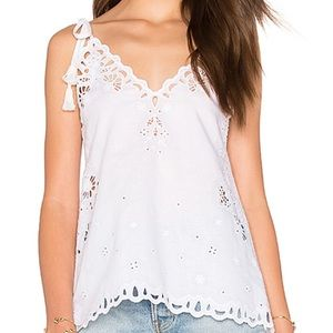 Theory Wiola Cami Top White Embroidered Women's S